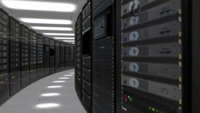 Animación de los servidores del estante en centro de datos almacen de video