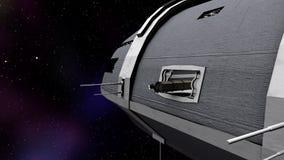 Animacja ładunku chodzenie w futurystycznego astronautycznego statek ilustracji