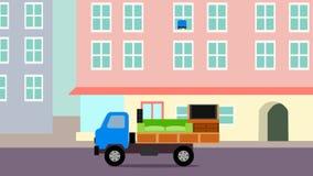 Animacja ciężarówka która ładuje z spada rzeczami wewnątrz jak wideo gra ilustracji