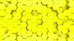 Animacja 3D żółtych sześciokątów rosnących w górę i w dół ilustracja wektor