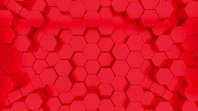 Animacja 3D czerwonych sześciokątów rosnących w górę i w dół ilustracji