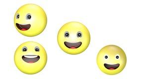 Animacja 3D uśmiechającego się szeroko i obracającego się żółtego emoji royalty ilustracja
