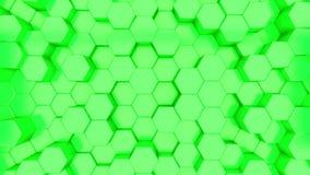 Animacja 3D zielonych sześciokątów rosnących w górę i w dół royalty ilustracja