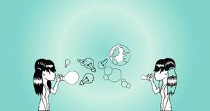 Animacja dziewczyny dmucha żarówkę i ziemię szybko się zwiększać ilustracji