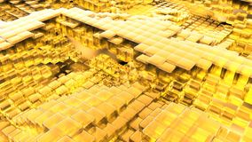 Animacja falowy żółty szklany ciecz z animowanymi odbiciami Loopable animacja ilustracja wektor