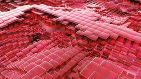 Animacja falowy czerwony szklany ciecz z animowanymi odbiciami Loopable animacja royalty ilustracja