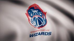 Animacja flaga z symbolem koszykówki Waszyngton czarownicy koszykówka Redakcyjna animacja ilustracja wektor