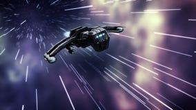 Animacja futurystyczny statek kosmiczny w osnowowej prędkości royalty ilustracja