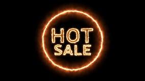 Animacja gorący sprzedaż tekst z pożarniczym skutkiem ilustracji