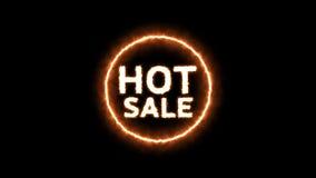 Animacja gorący sprzedaż tekst z pożarniczym skutkiem ilustracja wektor