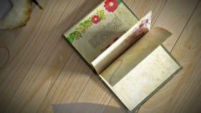 Animacja książkowy otwarcie z wijącym liści i zasłoien konceptualnym tłem, ilustracji