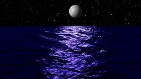 Animacja, księżyc światło nad morzem przy nocą, HD ilustracja wektor