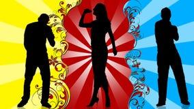 Animacja młodzi ludzie sylwetek śpiewa i tanczy ilustracji
