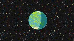 Animacja obracanie księżyc wokoło latanie planety ziemi na ciemnym tle z gwiazdami Futurystyczna sceneria w komiczka stylu zbiory