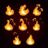 Animacja ogień, płomień, wybuch Sprite ogień dla gemowego projekta Obraz Stock