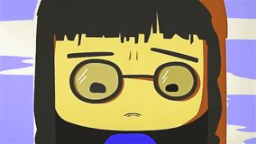 Animacja płacz dziewczyna, postać z kreskówki z ciemnym włosy i szkła, Zakończenie ilustracji