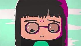 Animacja płacz dziewczyna, postać z kreskówki z ciemnym włosy który dostaje gniewnym i szkła, Zakończenie ilustracji