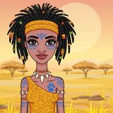 Animacja portret dziewczyna Amazon ilustracja wektor