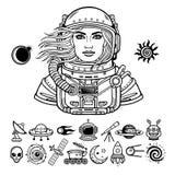 Animacja portret młody atrakcyjny kobieta astronauta w otwarta przestrzeń kostiumu ustawić symbole royalty ilustracja