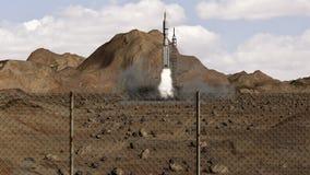 Animacja rakietowy wodowanie szeroki strzał ilustracji