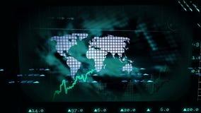 Animacja rynków papierów wartościowych dane z dorośnięcie mapą ilustracja wektor