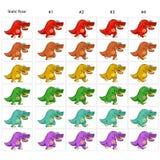 Animacja sześć śmiesznych dinosaurów chodzić Obrazy Stock