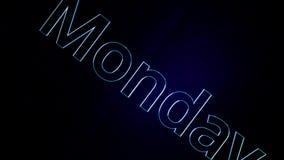 Animacja teksta słowo Poniedziałek Animacja dzień tydzień na Poniedziałku z śmiałymi konturami na czarnym tle ilustracja wektor