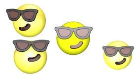 Animacja trójwymiarowa mruczącego, obracającego się i skaczącego żółtego emoji ilustracji