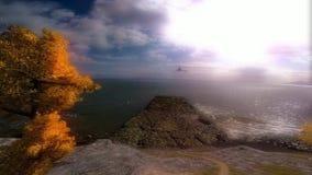 Animacja wybrzeże z chmurnego nieba i słońca łamaniem ilustracji