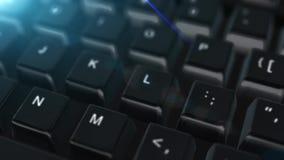 Animacja zamknięta w górę komputerowej klawiatury z Blockchain guzikiem royalty ilustracja