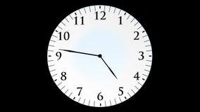 Animacja, zegarowy czas bez sekund, czarny tło, HD ilustracji