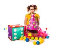 Animador de la mujer en el traje fany que se prepara para los niños involucrados con fotografía de archivo libre de regalías