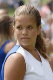 Animadora adolescente de la juventud en el partido de fútbol Imagenes de archivo