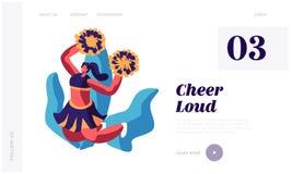 Animadora Girl Dancing con los pompones en deportistas favorables de la competencia del acontecimiento deportivo Caracteres que r stock de ilustración