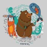 Animail sur la pêche illustration de vecteur