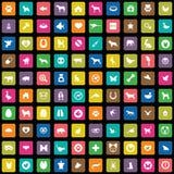 100 animais, ícones dos animais de estimação ajustados ilustração stock