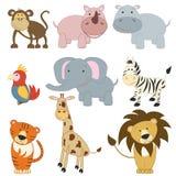 Animais africanos dos desenhos animados ajustados Fotografia de Stock Royalty Free