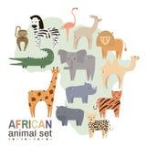 Animais africanos no estilo liso geométrico Ilustração do vetor ilustração stock