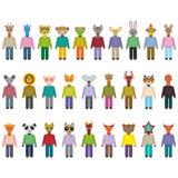 Animais ajustados no estilo liso na moda projeto do infographics do jardim zoológico Vetor Foto de Stock Royalty Free