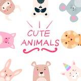 Animais ajustados - panda, rinoceronte, leão, urso, coelho, unicórnio, porco, rato, vaca ilustração royalty free