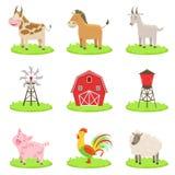 Animais associados e objetos da exploração agrícola ajustados ilustração do vetor