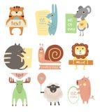 Animais bonitos com fitas e placas para o texto ilustração stock