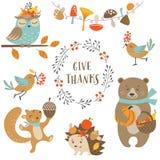 Animais bonitos da floresta do outono Imagem de Stock