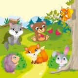 Animais bonitos da floresta dos desenhos animados Fotografia de Stock Royalty Free