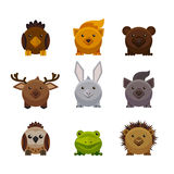 Animais bonitos da floresta, grupo liso do vetor do estilo Fotografia de Stock