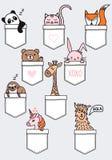Animais bonitos do bebê em um bolso, grupo do vetor ilustração royalty free