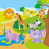 Animais bonitos do jardim zoológico dos desenhos animados Foto de Stock Royalty Free