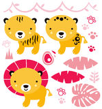 Animais bonitos do safari ajustados isolados no branco Imagens de Stock