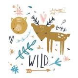 Animais bonitos do vetor Collecrion das crianças com cervos e raposa ilustração stock