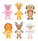 Animais bonitos dos desenhos animados ajustados Animais do bebê em um fundo branco Ilustração do vetor Foto de Stock